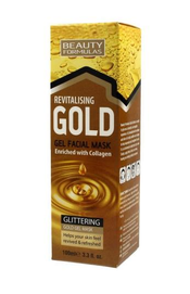 BEAUTY FORMULAS REVITALISING GOLD GEL FACIAL MASK WITH COLLAGEN GLITTERING
