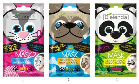 BIELENDA CRAZY FACE MASK CLOTH 3D CLEANING - CAT MOISTURIZING - PUG DOG DETOX - PANDA