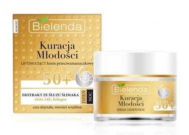 BIELENDA YOUTH TREATMENT ANTIWRINKLE LIFTING FACE CREAM 50+ GOLD & SNAIL MUCUS DAY NIGHT