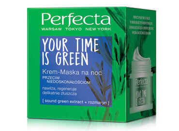DAX COSMETICS PERFECTA YOUR TIME IS GREEN FACE CREAM MASK FOR NIGHT ANTI IMPERFECTIONS