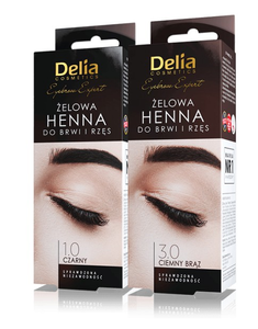DELIA PRO COLOR HENNA GEL  for eyebrows and lashes, henna żelowa do brwii, czarna, brazowa mooncometicsuk