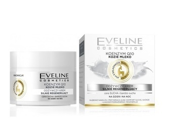 EVELINE COSMETICS COENZYME Q10 GOAT MILK  FACE CREAM NOURISHINGSTRONGLY REGENERATING DAY NIGHT