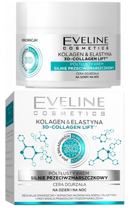 EVELINE COSMETICS COLLAGEN & ELASTIN 3D-COLLAGEN LIFT SEMI RICH STRONG ANTI-WRINKLE FACE CREAM DAY NIGHT