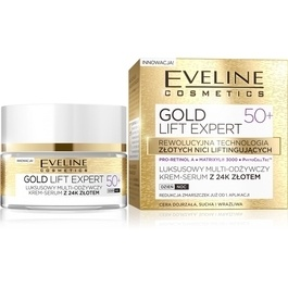 EVELINE COSMETICS GOLD LIFT EXPERT 50+ FACE MULTI- NOURISHING CREAM SERUM WITH 24K GOLD