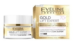 EVELINE COSMETICS GOLD LIFT EXPERT 70+ FACE MULTI- REPAIR CREAM SERUM WITH 24K GOLD
