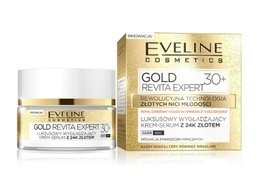 EVELINE COSMETICS GOLD REVITA EXPERT 30+ FACE SMOOTHING CREAM SERUM WITH 24K GOLD