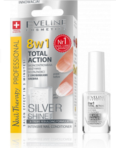 EVELINE COSMETICS NAIL THERAPY 8IN1 TOTAL ACTION CONCENTRATED NAILS CONDITIONER SILVER SHINE