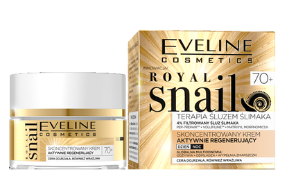 EVELINE COSMETICS ROYAL SNAIL CONCENTRATED FACE CREAM ACTIVE REGENERATION DAY NIGHT 70+