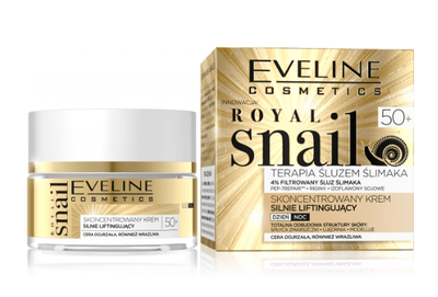 EVELINE COSMETICS ROYAL SNAIL CONCENTRATED FACE CREAM STRONG LIFTING DAY NIGHT 50+
