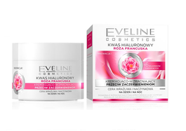 EVELINE FRENCH ROSE HIALURON ACID SMOOTHING FACE CREAM STRONGLY ANTI-WRINKLES CAPILLARY & SENSITIVE SKIN D/N