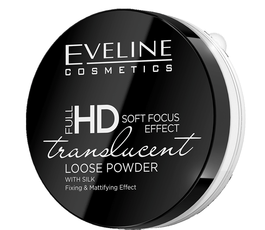 EVELINE FULL HD SOFT FOCUS EFFECT TRANSLUCENT WHITE LOOSE POWDER WITH SILK MATT