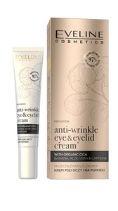 EVELINE ORGANIC GOLD ANTI-WRINKLE EYE & EYELID CREA, WITH CICA, CAFFEINE, BANANA
