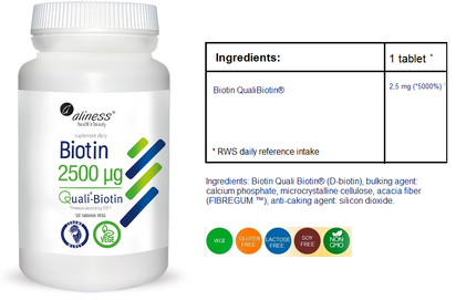 MEDICALINE ALINESS BIOTIN 2500ug 120 VEGE TABLETS DIET SUPPLEMENT