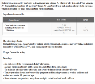 MEDICALINE ALINESS NATURAL BETACAROTEN PROVITAMIN A 100 CAPSULES VEGE
