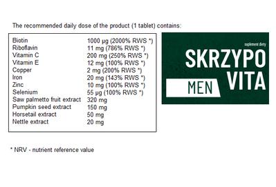 SKRZYPOVITA MEN DIET SUPPLEMENT STRONG HAIR FORMULA FOR MEN 30 TABLETS