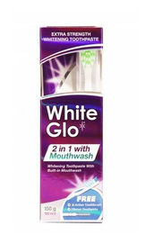 WHITE GLO 2in1 WHITENING TOOTHPASTE WITH BUILT-IN MOUTHWASH + toothbrush